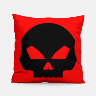 Miniature de image de Large Black Hollow Eyed Halloween Death Skull on Blood Red Pillow, Live Heroes