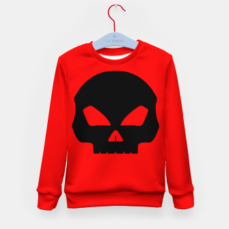 Miniature de image de Large Black Hollow Eyed Halloween Death Skull on Blood Red Kid's sweater, Live Heroes