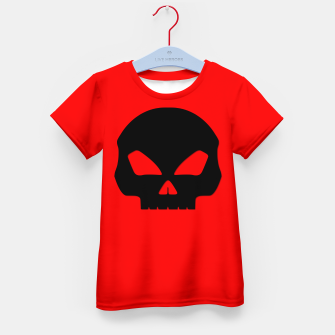 Miniature de image de Large Black Hollow Eyed Halloween Death Skull on Blood Red Kid's t-shirt, Live Heroes