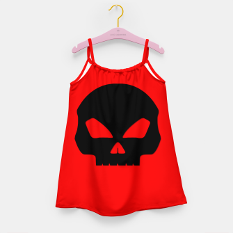 Miniature de image de Large Black Hollow Eyed Halloween Death Skull on Blood Red Girl's dress, Live Heroes