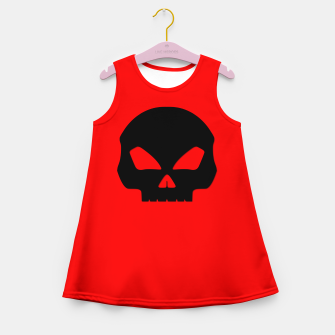 Miniature de image de Large Black Hollow Eyed Halloween Death Skull on Blood Red Girl's summer dress, Live Heroes