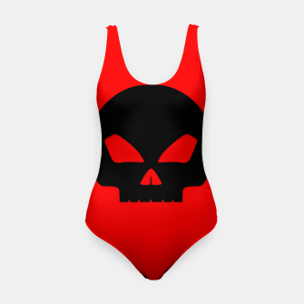 Miniature de image de Large Black Hollow Eyed Halloween Death Skull on Blood Red Swimsuit, Live Heroes