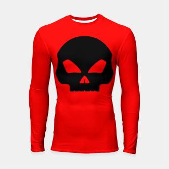 Miniature de image de Large Black Hollow Eyed Halloween Death Skull on Blood Red Longsleeve rashguard , Live Heroes