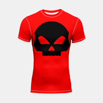 Miniature de image de Large Black Hollow Eyed Halloween Death Skull on Blood Red Shortsleeve rashguard, Live Heroes