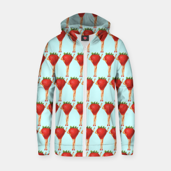 Thumbnail image of Strawberry Season Cotton zip up hoodie, Live Heroes