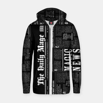Thumbnail image of The Daily Mage Magic Fantasy Newspaper II Cotton zip up hoodie, Live Heroes