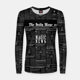 Thumbnail image of The Daily Mage Magic Fantasy Newspaper II Woman cotton sweater, Live Heroes