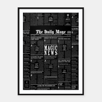 Thumbnail image of The Daily Mage Magic Fantasy Newspaper II Framed poster, Live Heroes
