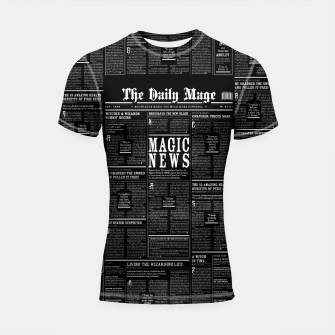 Thumbnail image of The Daily Mage Magic Fantasy Newspaper II Shortsleeve rashguard, Live Heroes