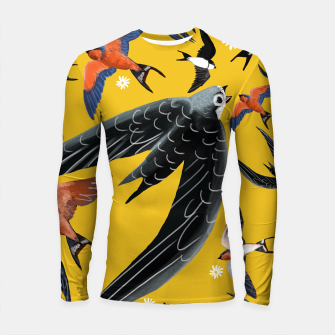 Imagen en miniatura de Loading image  Swallows and Swift yellow Longsleeve rashguard, Live Heroes