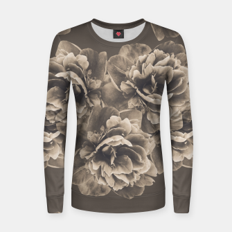 Sepia Peony Flower Bouquet #1 #floral #decor #art Frauen baumwoll sweatshirt thumbnail image