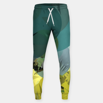 Miniature de image de geometric circle and triangle pattern abstract in blue and yellow Cotton sweatpants, Live Heroes
