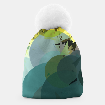 Miniature de image de geometric circle and triangle pattern abstract in blue and yellow Beanie, Live Heroes