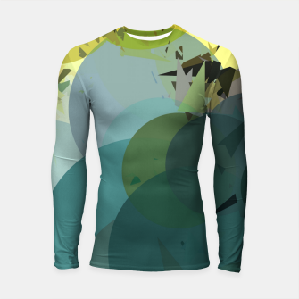 Miniature de image de geometric circle and triangle pattern abstract in blue and yellow Longsleeve rashguard , Live Heroes