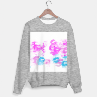 Miniature de image de kisses lipstick pattern abstract background in pink and blue Sweater regular, Live Heroes