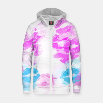 Miniature de image de kisses lipstick pattern abstract background in pink and blue Cotton zip up hoodie, Live Heroes