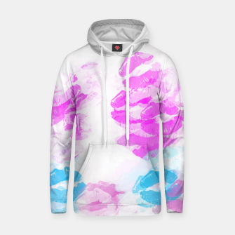 Miniature de image de kisses lipstick pattern abstract background in pink and blue Cotton hoodie, Live Heroes