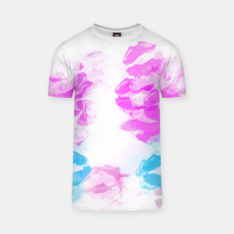 Miniaturka kisses lipstick pattern abstract background in pink and blue T-shirt, Live Heroes