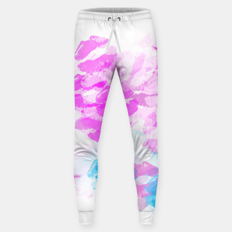 Miniature de image de kisses lipstick pattern abstract background in pink and blue Cotton sweatpants, Live Heroes
