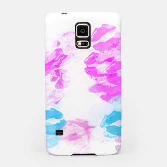 Miniaturka kisses lipstick pattern abstract background in pink and blue Samsung Case, Live Heroes