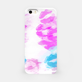 Miniature de image de kisses lipstick pattern abstract background in pink and blue iPhone Case, Live Heroes