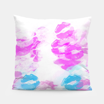 Miniature de image de kisses lipstick pattern abstract background in pink and blue Pillow, Live Heroes