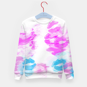 Miniature de image de kisses lipstick pattern abstract background in pink and blue Kid's sweater, Live Heroes