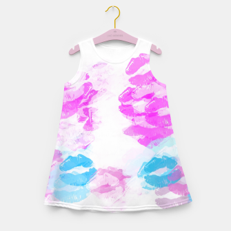 Miniaturka kisses lipstick pattern abstract background in pink and blue Girl's summer dress, Live Heroes