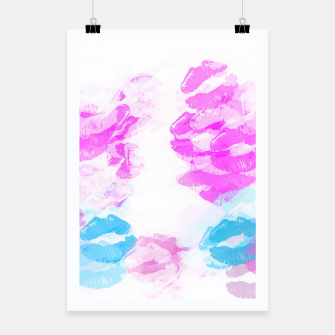 Miniaturka kisses lipstick pattern abstract background in pink and blue Poster, Live Heroes