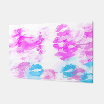 Miniature de image de kisses lipstick pattern abstract background in pink and blue Canvas, Live Heroes
