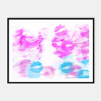 Miniature de image de kisses lipstick pattern abstract background in pink and blue Framed poster, Live Heroes
