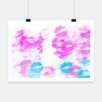 Miniature de image de kisses lipstick pattern abstract background in pink and blue Poster, Live Heroes