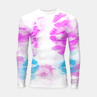 Miniature de image de kisses lipstick pattern abstract background in pink and blue Longsleeve rashguard , Live Heroes