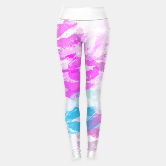 Miniaturka kisses lipstick pattern abstract background in pink and blue Leggings, Live Heroes