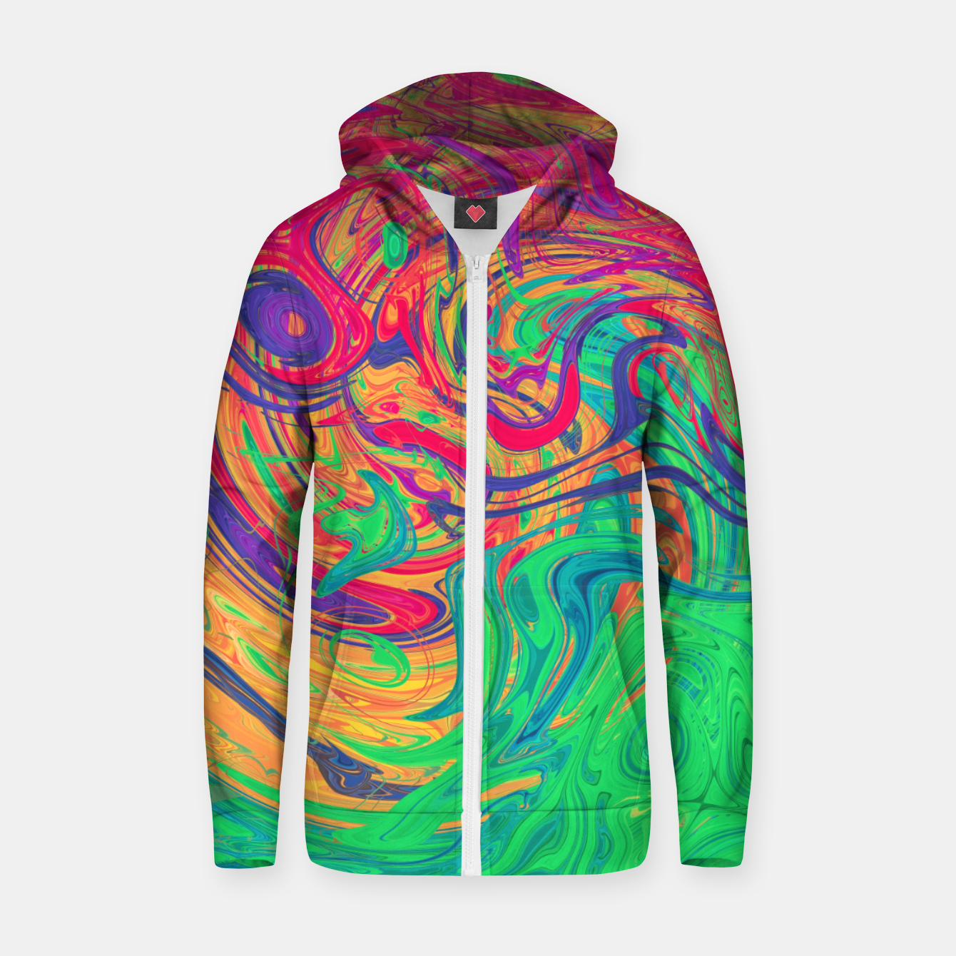 Image de Abstract Multicolored Waves  Cotton zip up hoodie - Live Heroes