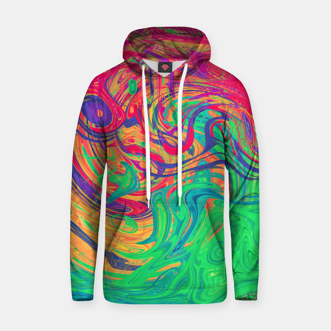 Image of Abstract Multicolored Waves  Cotton hoodie - Live Heroes