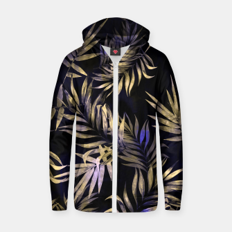 Golden Tropics Leaf Cotton zip up hoodie Bild der Miniatur