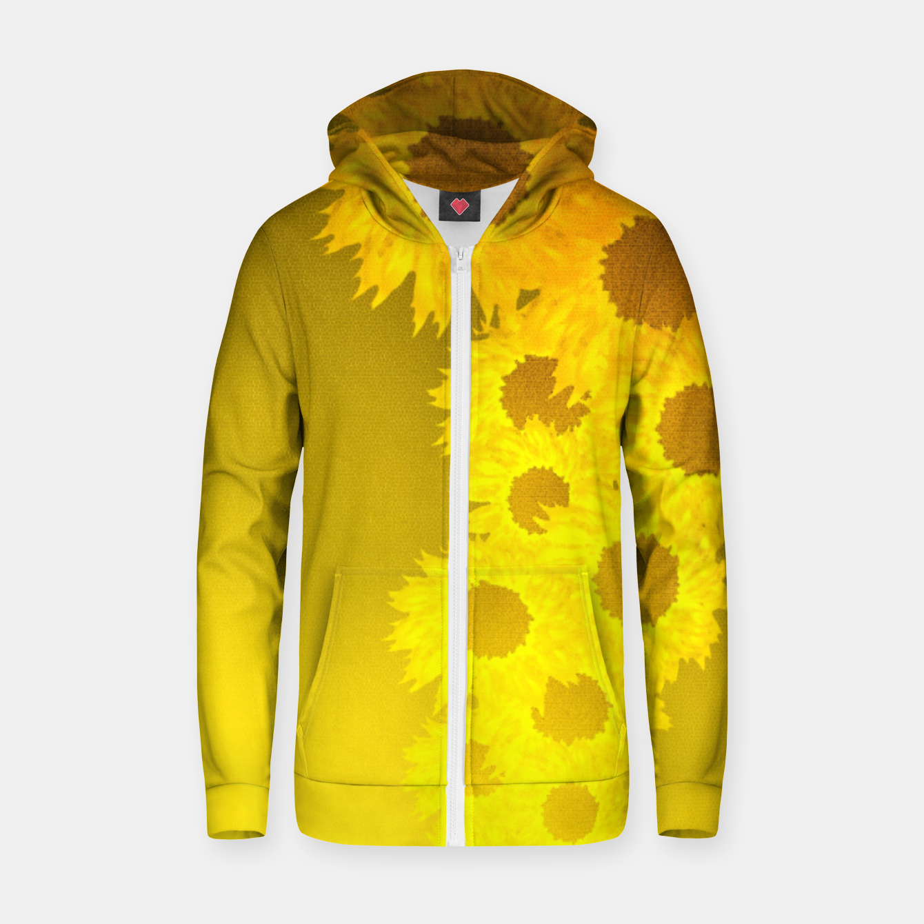 Foto sunflower mosaic pattern Cotton zip up hoodie - Live Heroes