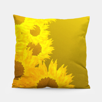 Miniatur sunflower mosaic pattern Pillow, Live Heroes