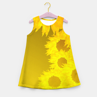 sunflower mosaic pattern Girl's summer dress Bild der Miniatur