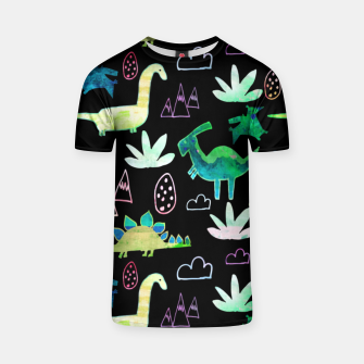 Thumbnail image of Dinosaur pattern Black T-shirt, Live Heroes