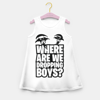"Thumbnail image of Where Are We Dropping Boys?"" Girl's summer dress, Live Heroes"