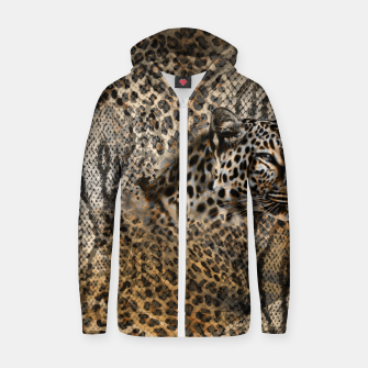 Thumbnail image of Leopard Cotton zip up hoodie, Live Heroes