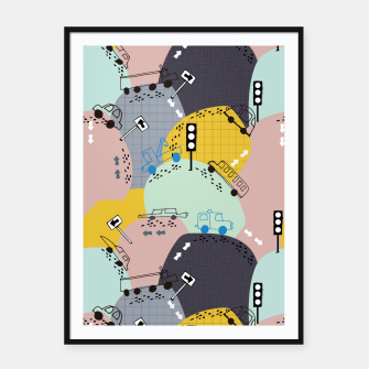 Miniatur Four wheels yellow Framed poster, Live Heroes