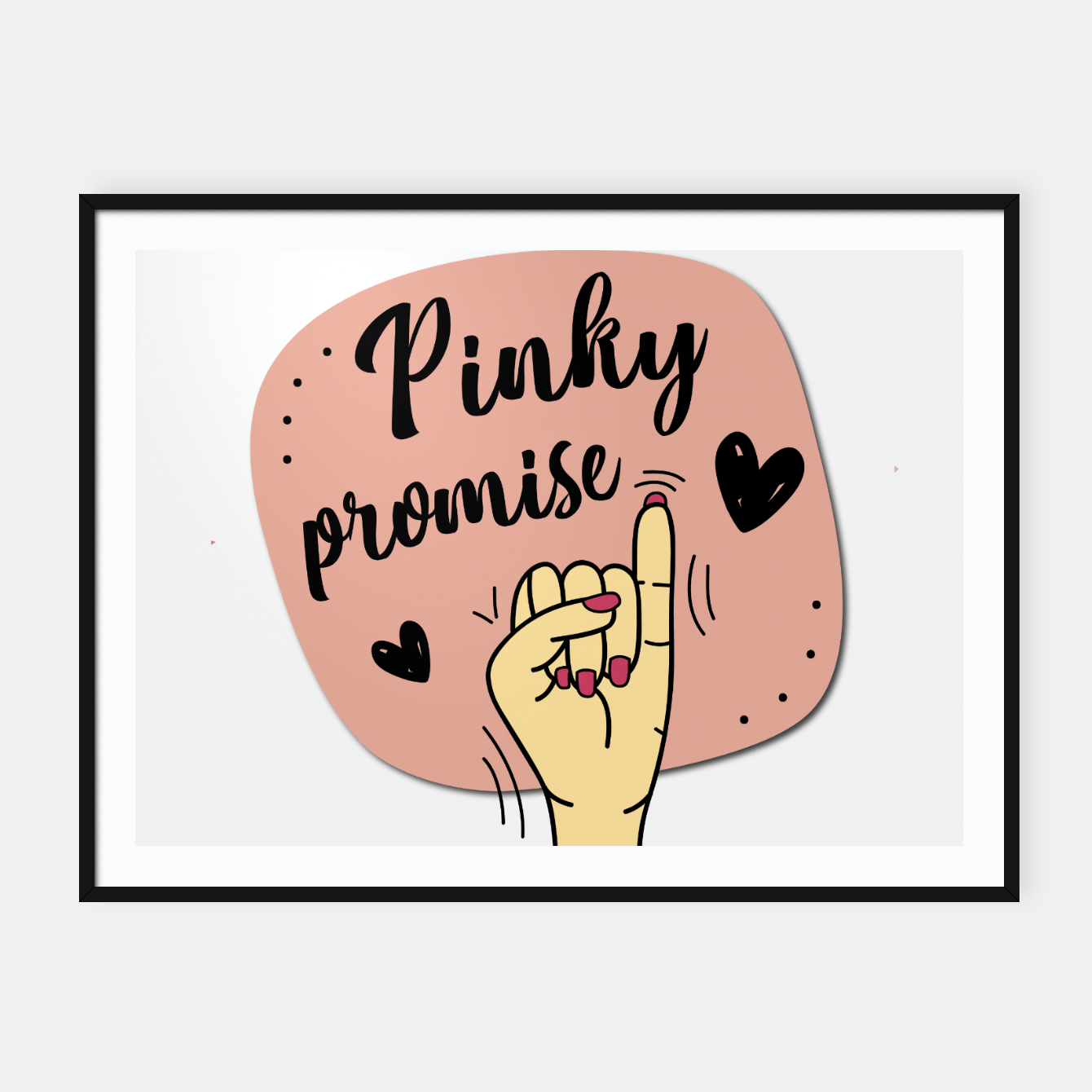 Pinky promise Cartel con marco, Live Heroes