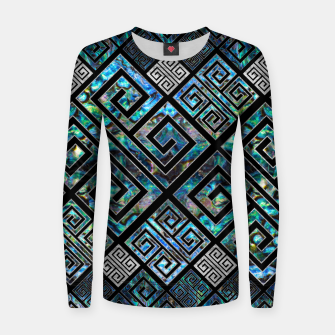 Thumbnail image of Greek Meander Pattern - Greek Key Ornament Woman cotton sweater, Live Heroes