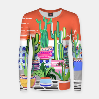Thumbnail image of Cactus Window Woman cotton sweater, Live Heroes