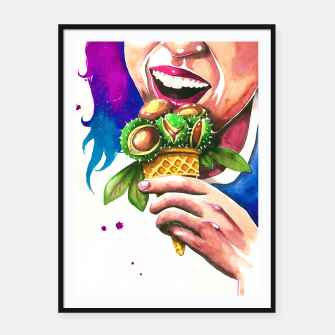 Miniatur ice cream Framed poster, Live Heroes