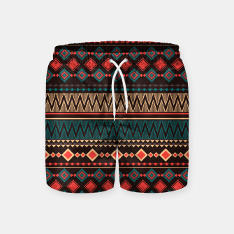 Thumbnail image of Aztec and Nordic Pattern Dark Swim Shorts, Live Heroes