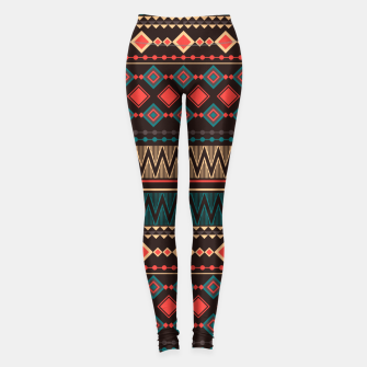 Thumbnail image of Aztec and Nordic Pattern Dark Leggings, Live Heroes